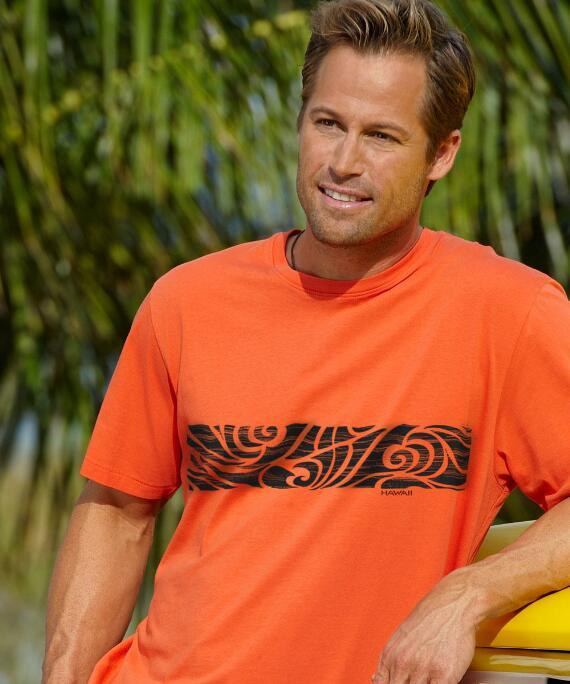 Short-Sleeve Hanele Band Burnt Orange Pima Shirt