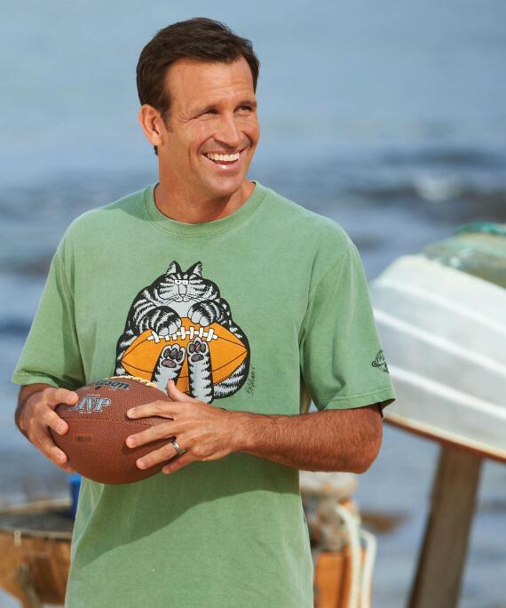 Short-Sleeve Football Catch Cat Ti Leaf Crew T-shirt