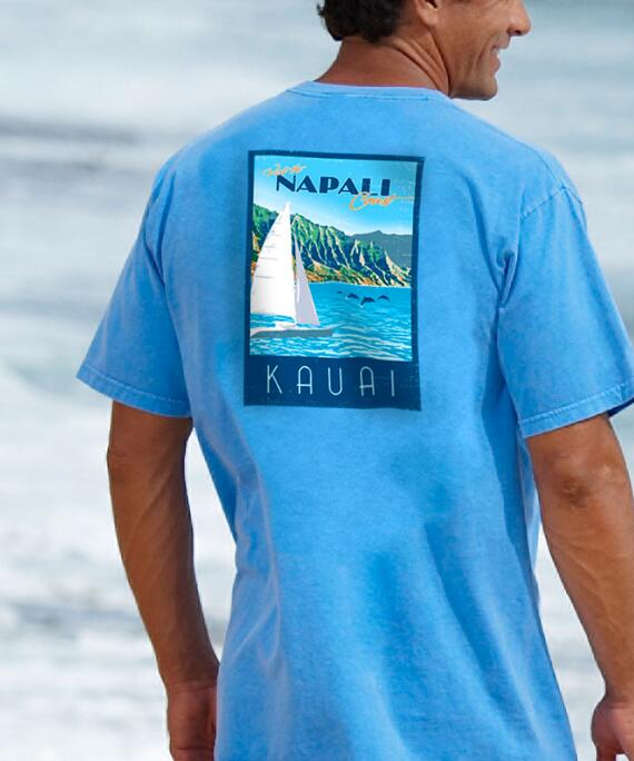 Short-Sleeve Retro Napali Poster Blue Hawaii Crew T-shirt