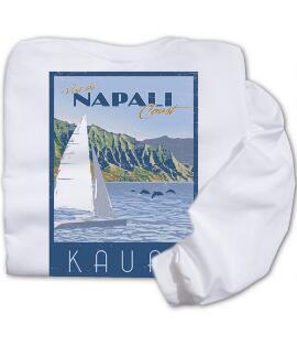 Long-Sleeve Retro Napali Poster White Classic Crew