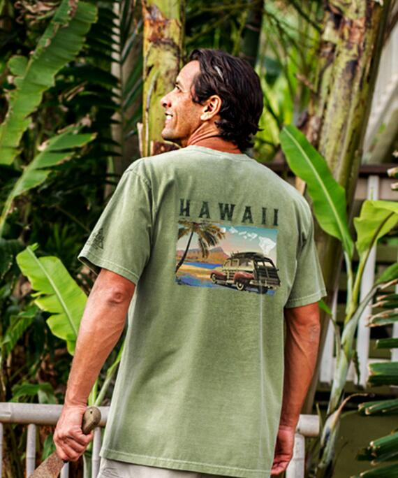 Short-Sleeve Hawaii Woodie Ti Leaf Crew T-shirt