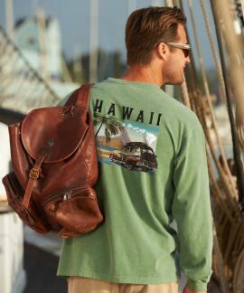 Long-Sleeve Hawaii Woodie Ti Leaf Classic Crew