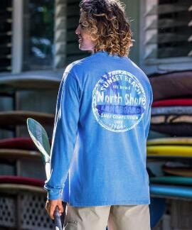 Long-Sleeve North Shore Longboard Competition Blue Hawaii Classic Crew