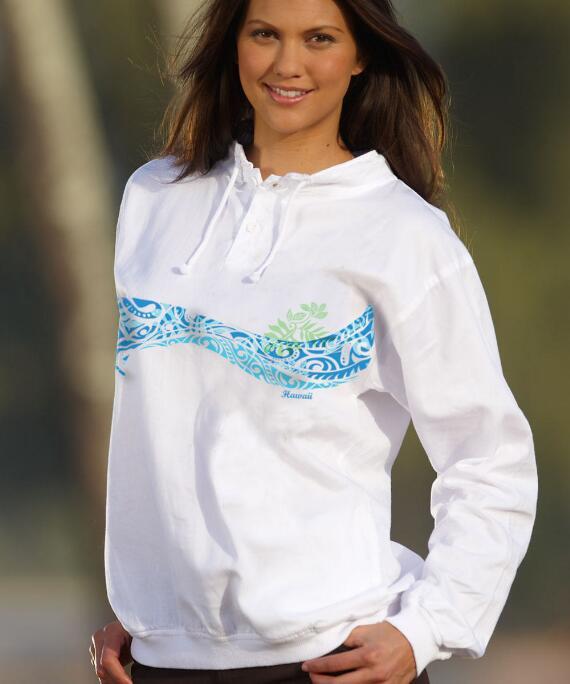 Long-Sleeve Motu Band White Lightweight Pullover