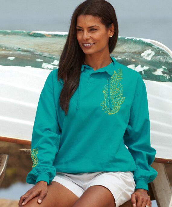 Long-Sleeve Borderline Ocean Breeze Lightweight Pullover