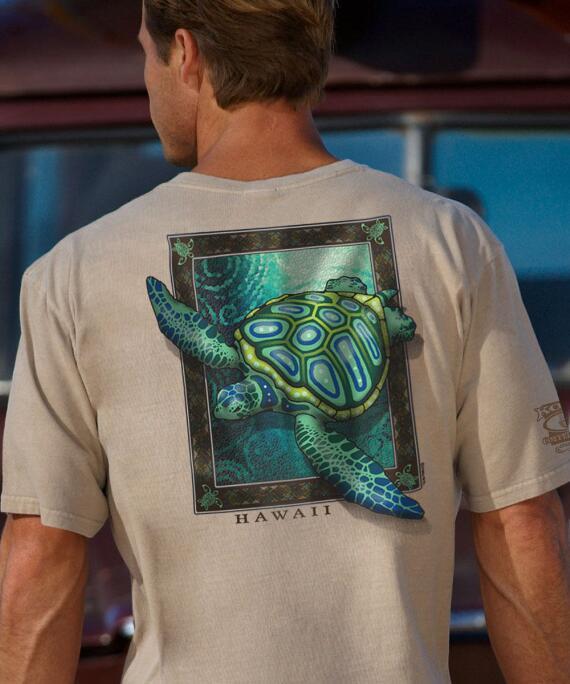 Short-Sleeve Sea Turtle Mosaic Kona Coffee Crew T-shirt