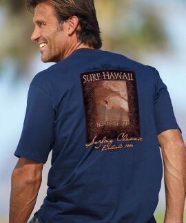 Short-Sleeve Vintage Surf Hawaii Navy Crew