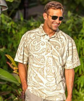 Short-Sleeve Janvier Bamboo Hawaiian Polo Shirt
