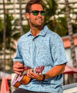 Short-Sleeve Janvier Blue Hawaiian Polo Shirt