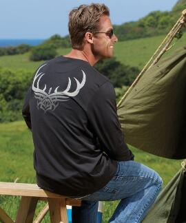 Long-Sleeve Tribal Antler Jet Black Pima Shirt