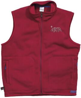 Sleeveless Tribal Bear Crimson Red Men's Polartec Vest