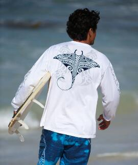 Long-Sleeve Kava Kava Ray White Classic Crew