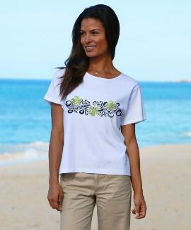 Short-Sleeve Tribal Honu Band White Scoop-neck T-shirt