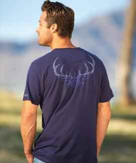 Short-Sleeve Tribal Antler Indigo Pima Shirt