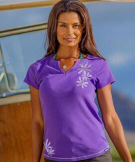 Short-Sleeve Tiare Tribal Violet Split V-neck T