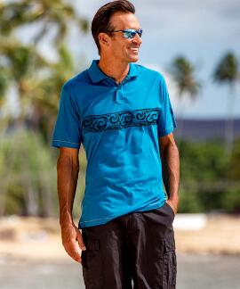 Short-Sleeve Ethnic Band Pacific Pipeline Pima Polo