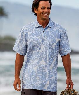 Short-Sleeve Kahaluu Sky Hawaiian Polo Shirt