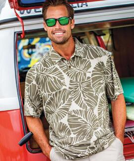 Short-Sleeve Kahaluu Beechwood Hawaiian Polo Shirt