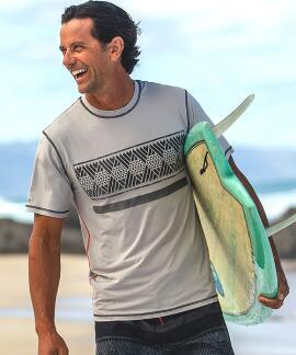 Short-Sleeve Kako Mineral Gray Men's Swim Shirt