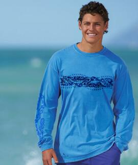 Long-Sleeve Tribal Mano Stripe Blue Hawaii Classic Crew