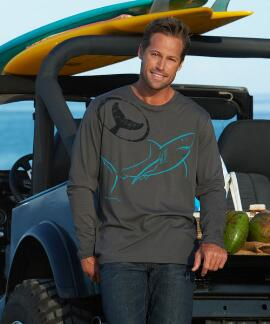 Long-Sleeve Wyland Shark Ink Smoke Pima Shirt