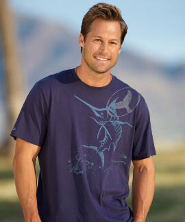 Short-Sleeve Wyland Marlin Ink Indigo Pima Shirt