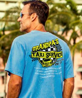 Short-Sleeve Taxi Service Blue Hawaii Crew T-shirt