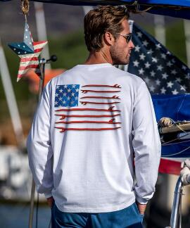 Long-Sleeve Surf United White Classic Crew