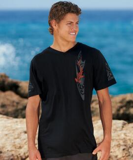 Short-Sleeve Woodcut Shark Jet Black V-neck T