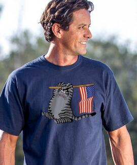 Short-Sleeve Stars N Stripes Cat Navy Crew