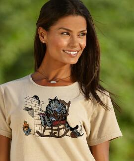 Short-Sleeve Grandma Cat Kona Coffee Scoop Neck