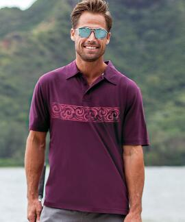 Short-Sleeve Ethnic Band Port Pima Polo