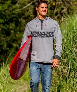 Long-Sleeve Tamanui Gray Longboard Hooded T