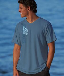 Short-Sleeve Kavani Blue Steel V-neck T