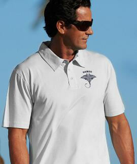 Short-Sleeve Kava Kava Ray White Pima Polo