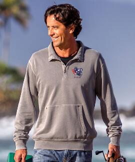 Long-Sleeve American Pride Pebble Riptide Pullover