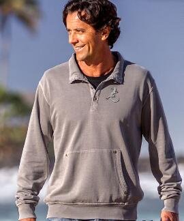 Long-Sleeve Petro Lizard Pebble Riptide Pullover