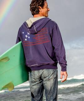 Long-Sleeve American Pride Indigo Point Break Hoodie