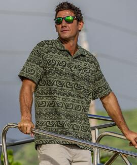 Short-Sleeve Arenui Hunter Green Hawaiian Polo Shirt