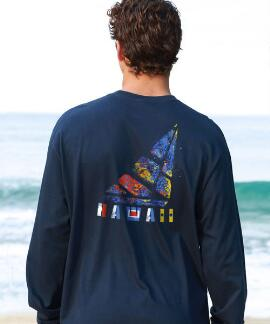 Long-Sleeve Textured Sailboat Navy Classic Crew