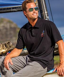 Short-Sleeve Textured Sailboat Jet Black Pima Polo