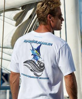 Short-Sleeve Hawaii Painted Marlin White Crew