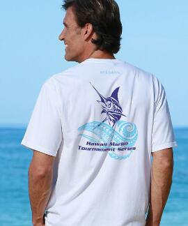 Short-Sleeve Hawaii Marlin White Crew