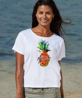Short-Sleeve Splatter Pineapple White Scoop-neck T-shirt