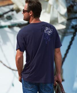 Short-Sleeve Mano Frenzy Chase Indigo Pima Shirt