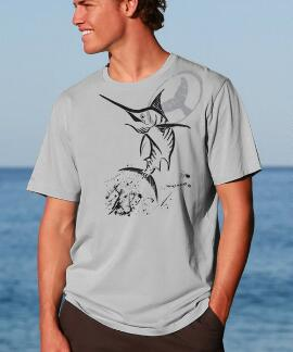 Short-Sleeve Wyland Marlin Ink Cement Pima Shirt