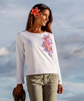 Long-Sleeve Oasis White Scoop Neck