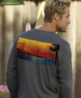 Long-Sleeve Golden Gate Panoramic Smoke Pima Shirt