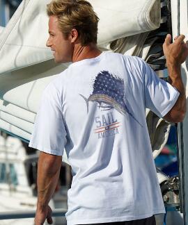 Short-Sleeve Sail America White Crew