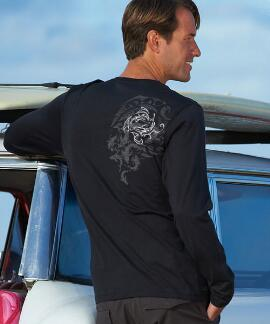 Long-Sleeve Mano Frenzy Chase Jet Black Pima Shirt
